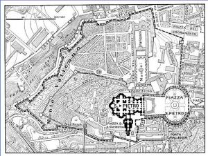 Границы Государства Града Ватикан в соответствии с Латеранскими соглашениями