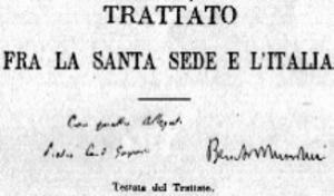 Латеранские соглашения подписаны Кардиналом Пьетро Гаспарри и премьер-министром Бенито Муссолини