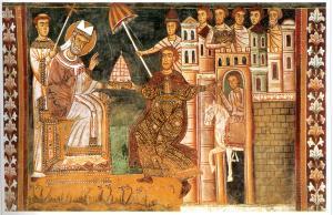 Сильвестр I и Константин. Фреска XIII в. из базилики Четырех увенчанных святых в Риме.